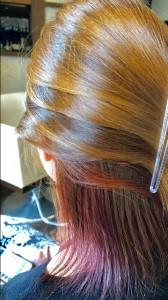 インナーカラー 赤 ピンク系 美容室 土浦市 りずむヘアデザイン