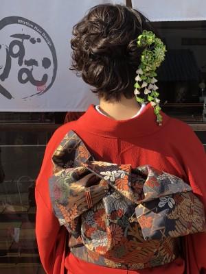成人式 ヘアメイク 着付け ショートボブ 土浦市 美容室 りずむヘアデザイン