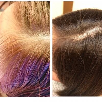 ヘアカラーの修正 根元金髪 美容室 土浦市 りずむヘアデザイン