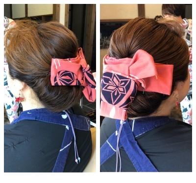 ヘアセット お祭りヘア 夜会巻き 夜会巻きアレンジ 土浦市 美容室 りずむヘアデザイン