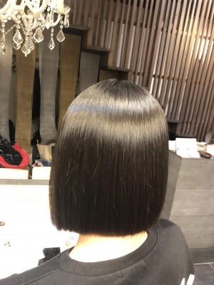 切りっぱなしボブ 縮毛矯正 土浦市 美容室 りずむヘアデザイン