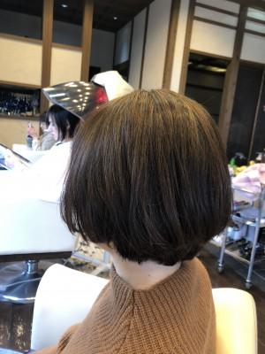 ショートボブ ヘアカラーの修正 ハイライト 色素除去 りずむヘアデザイン 土浦市 美容室