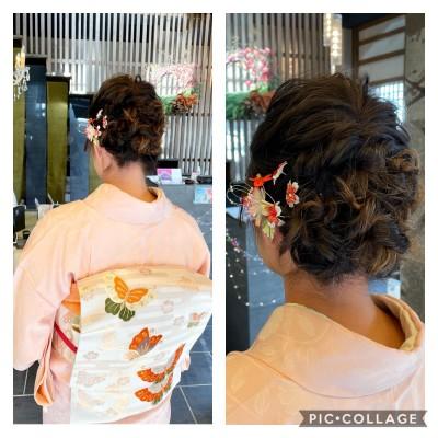 ヘアメイク 着付け 訪問着 お宮参り 土浦市 美容室 りずむヘアデザイン 有里呉服店