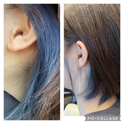インナーカラー インナーカラーブルー 色持ち ブリーチ 土浦市 美容室 りずむヘアデザイン 成人式