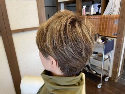 メッシュキャップ ハイライト ブリーチ 痛みづらい ノンシリコーン処方 メンズ 土浦市 美容室 りずむヘアデザイン