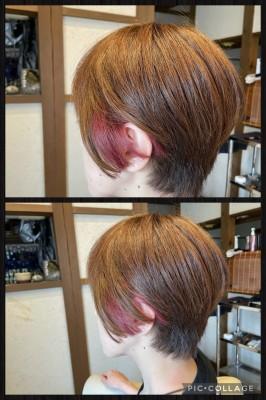鬼滅の刃 鬼滅カラー インナーカラー ショートボブ 土浦市 美容室 りずむヘアデザイン