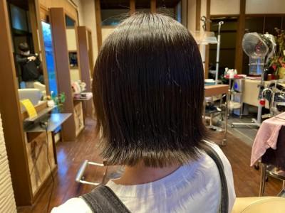 切りっぱなしボブ 外ハネ ヘアビューロン7Dplus 美容室 土浦市 りずむヘアデザイン