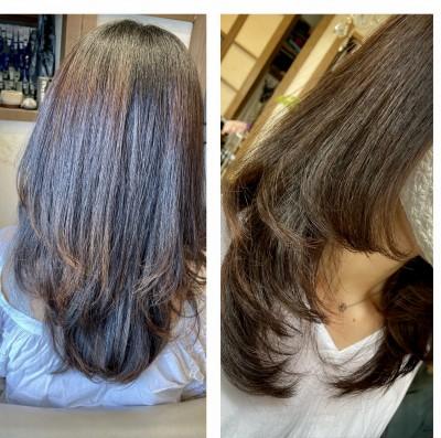 縮毛矯正 ノンシリコーン縮毛矯正 毛先カール ヘアビューロン りずむヘアデザイン 還元美容