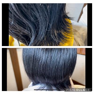 縮毛矯正 真っ直ぐ過ぎない 自然な縮毛矯正 ノンシリコーン縮毛矯正 土浦市 美容室 りずむヘアデザイン 髪と地肌のクレンジング