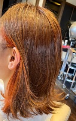 イヤリングカラー インナーカラー ブリーチ ダブルカラー 傷まない 土浦市 美容室 りずむヘアデザイン