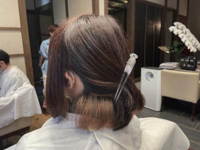 インナーカラー 社会人対応 美容室 りずむヘアデザイン 土浦市 ボブ ショートボブ 鬼滅カラー