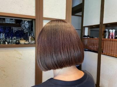 丸みショートボブ 髪と地肌のクレンジング ヘアカラー ショートボブ 土浦市 美容室 りずむヘアデザイン